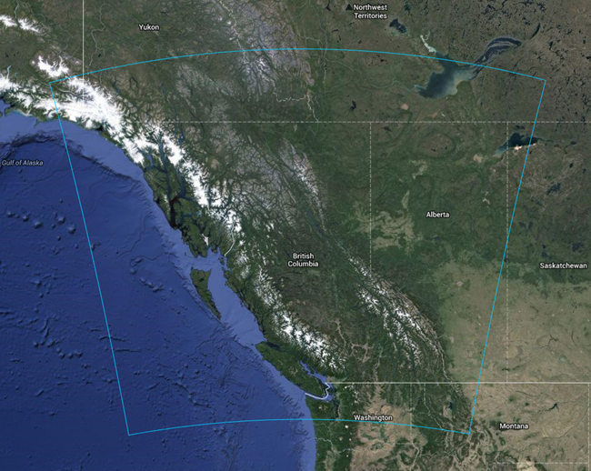 A map of the B.C. MoE WRF domain